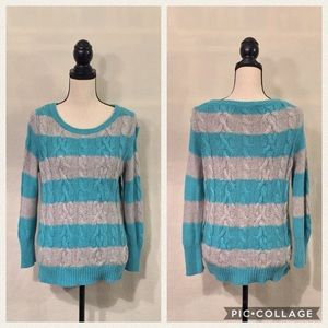 LOFT blue grey striped cable knit sweater